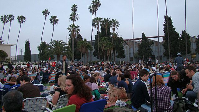 A crowd at the Hollywood Forever cemetery in Los Angeles