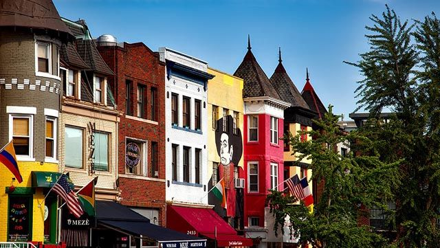 A row of colorful buildings in Adams Morgan in Washington DC