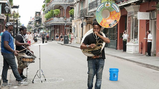 A musician with a tuba in the French Quarter New Orleans