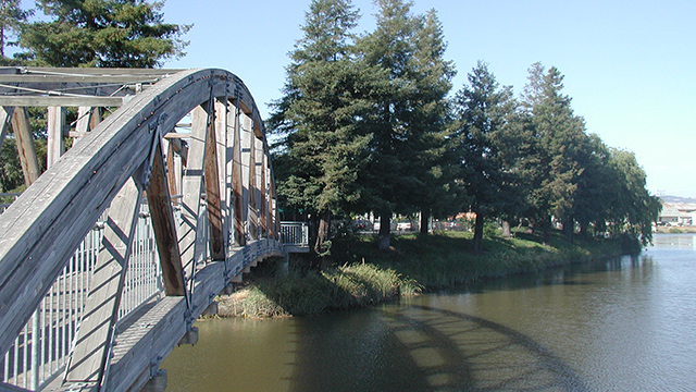 A bridge in a park in Petaluma in Northern California
